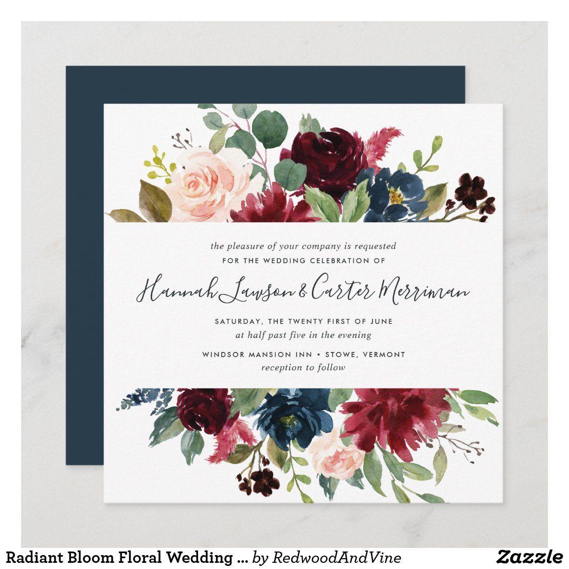 Radiant Bloom Floral Wedding Invitation Square Zazzle Com In 2021 Floral Wedding Invitations Wedding Invitations Floral Wedding