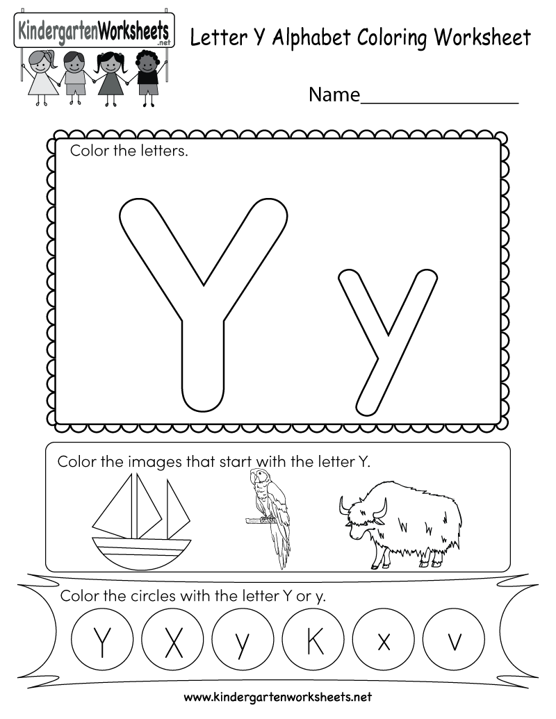 This Is A Letter Y Coloring Worksheet Children Can Color The Letters And The Images That Begin With Alphabet Kindergarten Letter Y Worksheets Color Worksheets