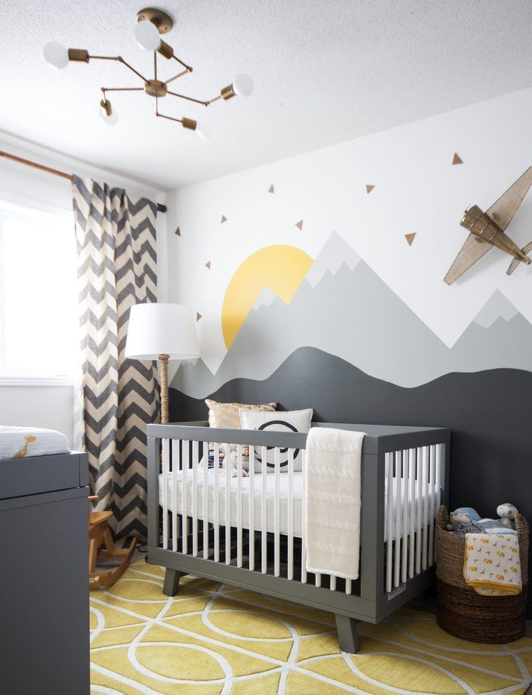 Baby Boy Room Mural Ideas: Handmade Baby Decorations Nursery Transitional With