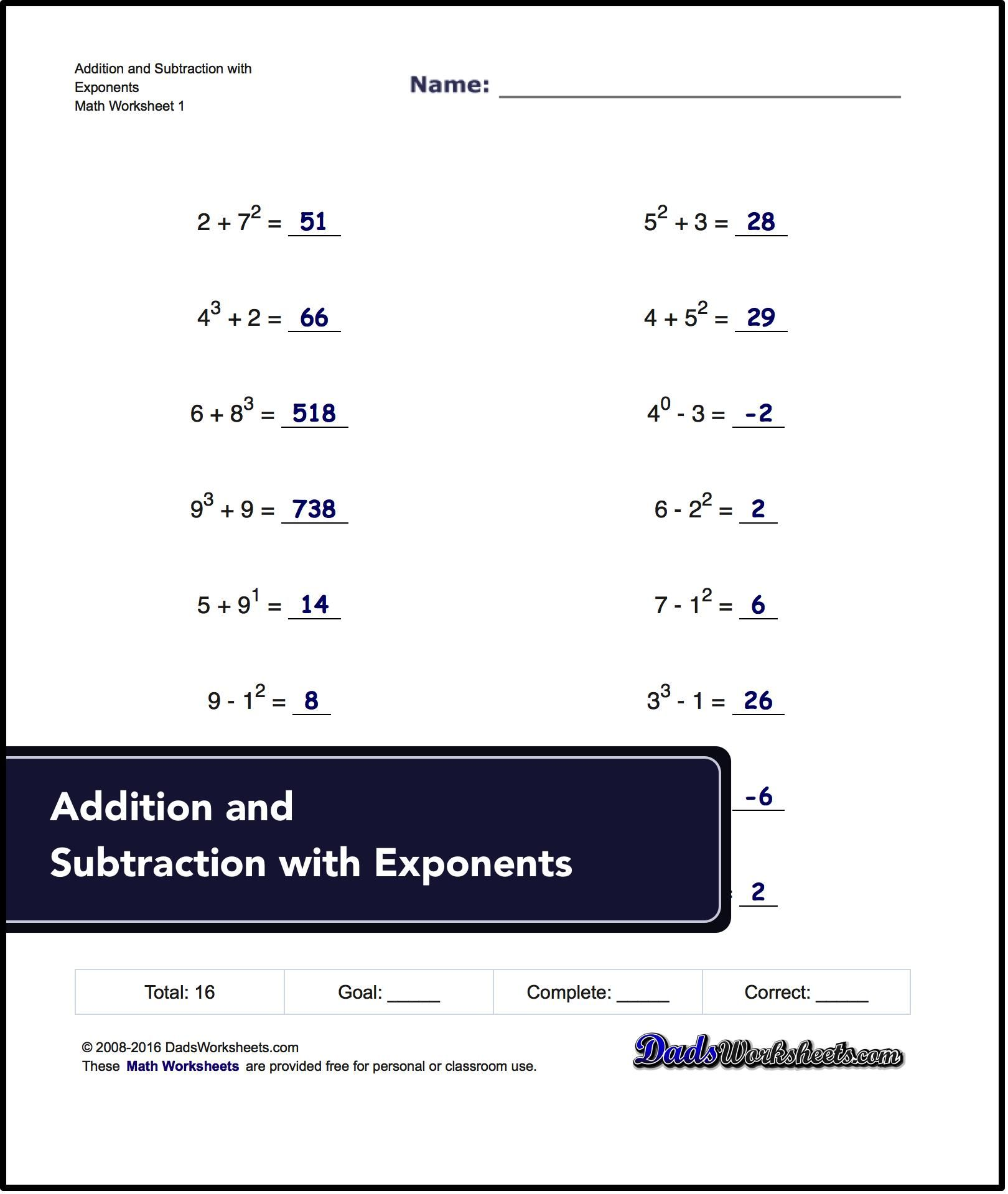 Exponents Worksheets! Mixed Addition And Subtraction with Exponents ...