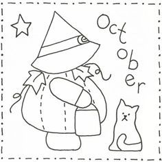 Sunbonnet Sue BOM - October Stitchery Pattern LQC-S10 by Little Quilts - Mary Ellen Von Holt. Make a little calendar quilt, embellish a pillowcase, decorate a shirt or sew a fabric greeting card.