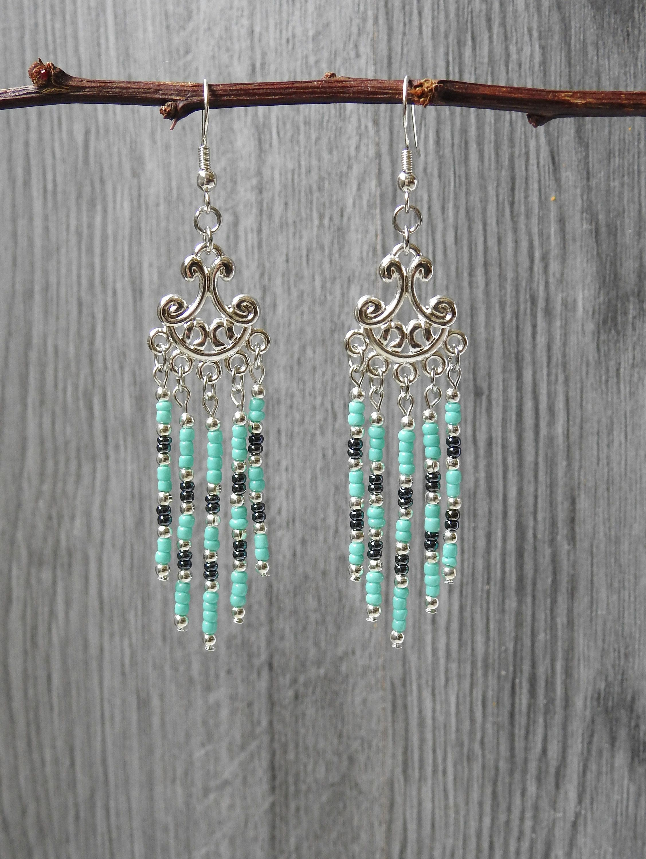 48e899838 Turquoise Chandelier Earrings - Southwestern Earrings - Chevron Earrings -  Turquoise Fringe Earrings - Cascade Earrings - Gift for Wife by  KayBejeweled on ...