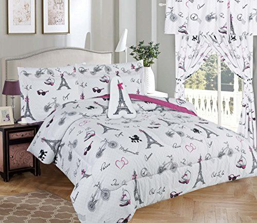 Golden Linens Twin Size 6 Pieces Printed Comforter with sheet set Bed in Bag Multi colors White Black Pink Paris Eiffel Tower Design Girls//Kids//Teens # Twin 6 Pc Paris
