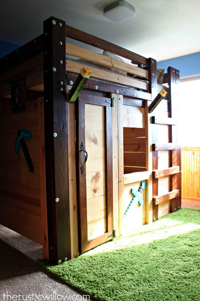 DIY Fort Bed (Minecraft Bed Minecraft room, Diy fort