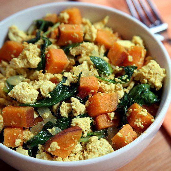 Protein Packed Breakfast Tofu Scramble With Kale And Sweet Potatoes Recipe Healthy Breakfast Recipes Tofu Scramble