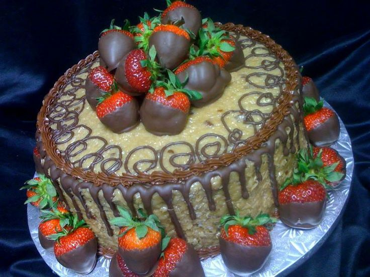 German Chocolate cake with chocolate covered strawberries for Grooms ...