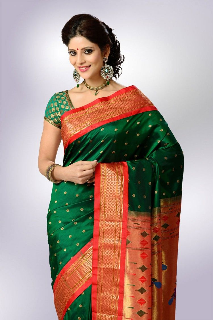 Yeola paithani saree images green color with red border paithani  things to wearsarees