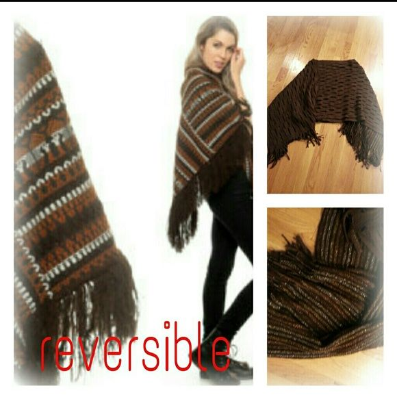 Reversible PONCHO Can be worn different ways. Brown pattern or a brown  touch of gold glitter with frinses. Great condtion. Sweaters Shrugs & Ponchos