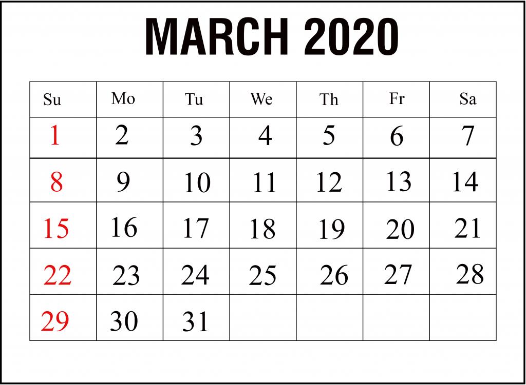 Blank March Calendar 2020 Printable Template Calendar Template Calendar Printables 2020 Calendar Template