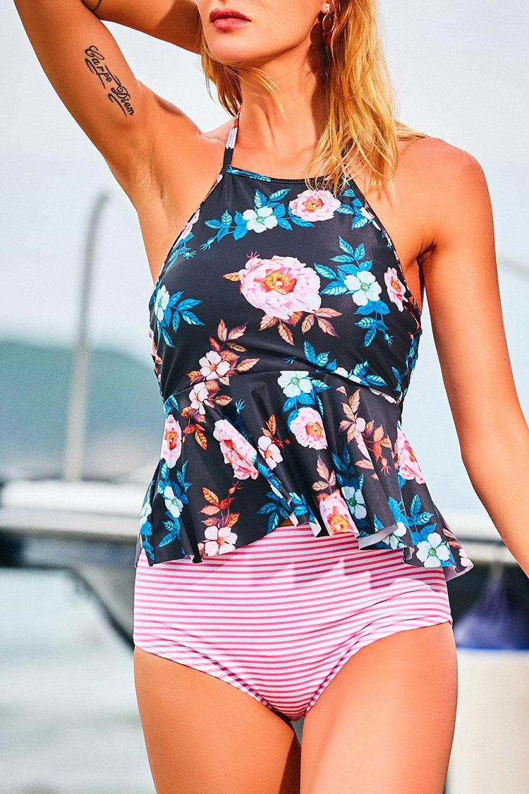 555304ed9079d Balmy Days Halter Tankini Set in 2019 | Clothes | Peplum swimsuit ...