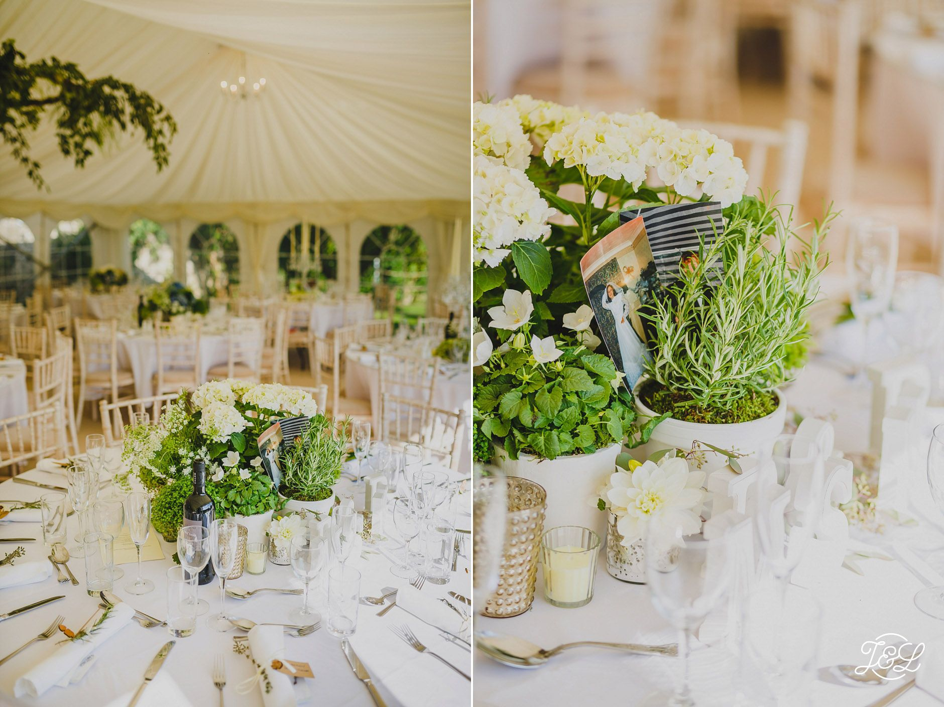 Wedding Venue Set Up Elegant White Clic Pretty With Lovely Green Flower Arrangements Near Marmion Tower English Heritage Site