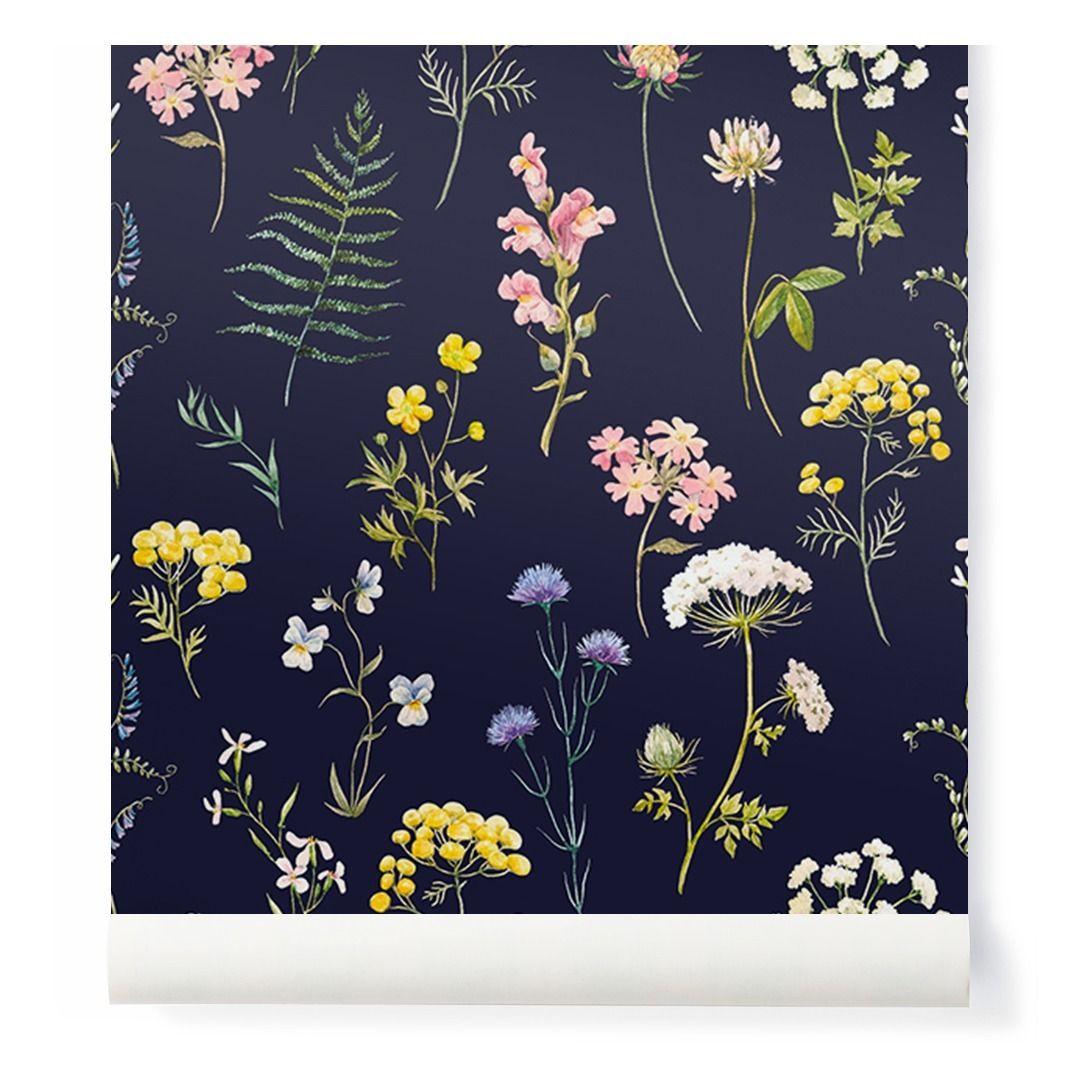 Papier peint façon herbier / Herbarium style wallpaper