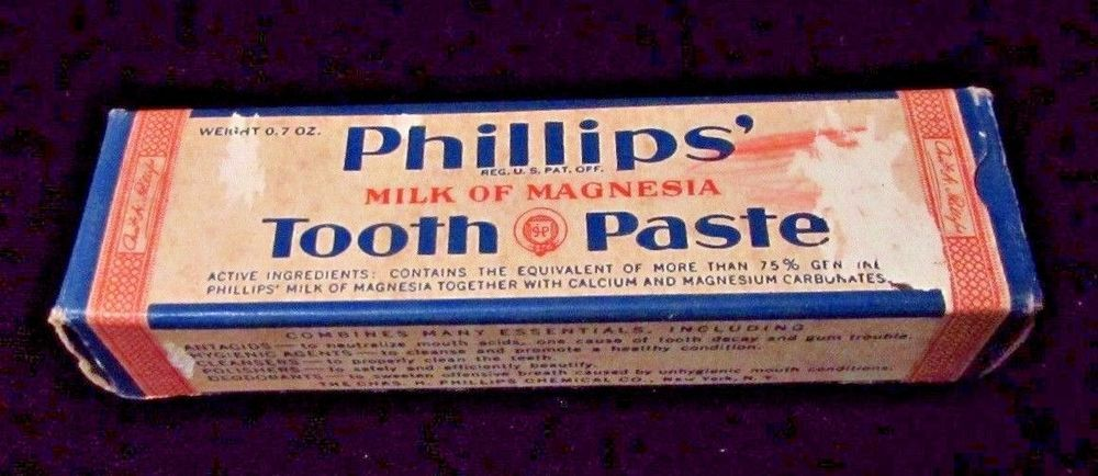 Vtg 1960's Guest Size Phillips Milk of Magnesia Tooth Paste Paper Box RARE