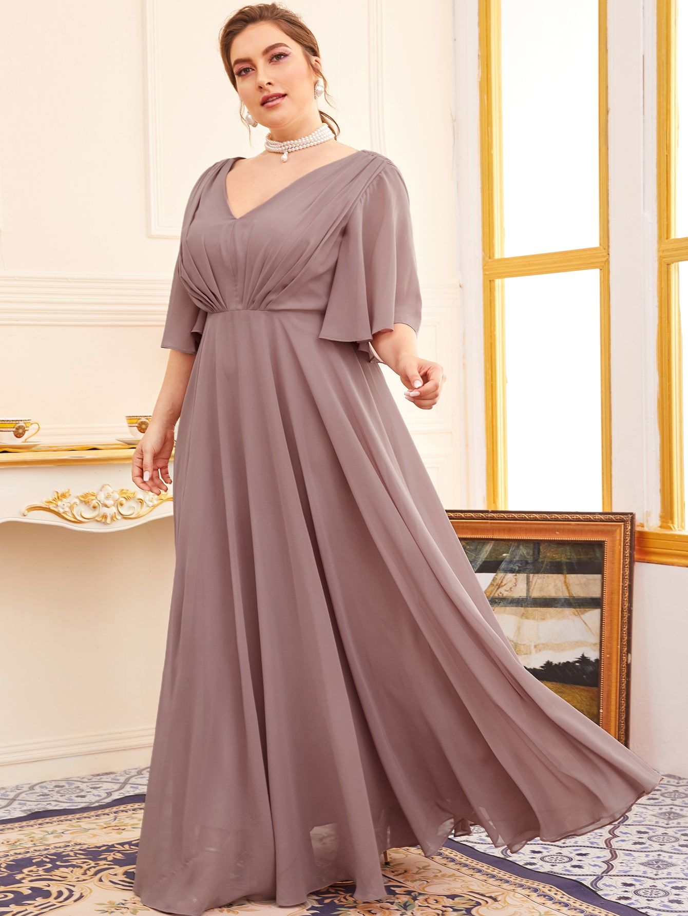 Plus Butterfly Sleeve Double V Neck A Line Dress Shein Usa In 2021 Dresses Maxi Dress Prom Fashion Hacks Clothes [ 1785 x 1340 Pixel ]