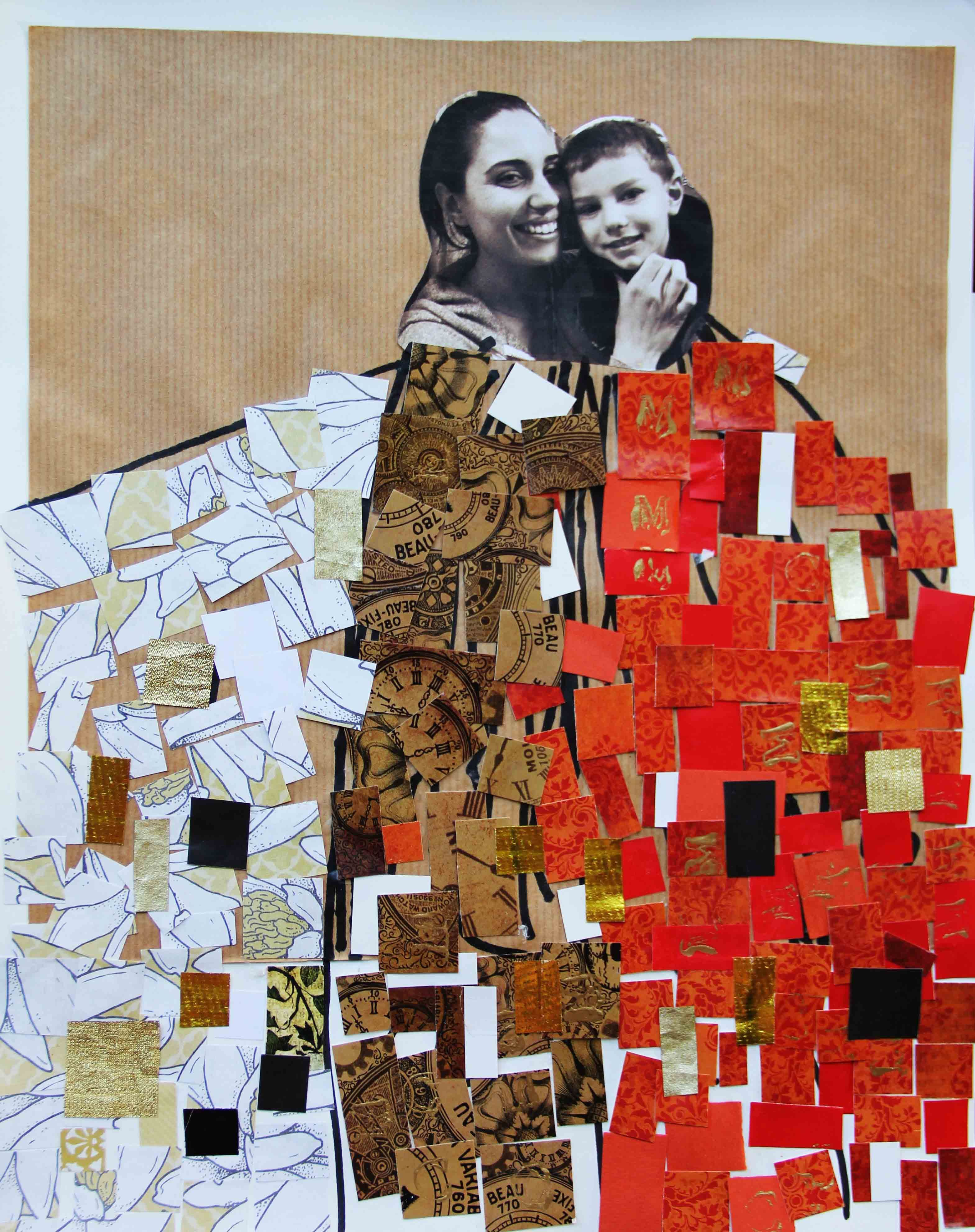 Mothers Day fine art project for kids - Gustav Klimt on www.ArtBoxAtelier.com. Project created by 4 and 5 years old students of PS 110 Monitor Street, Brooklyn, New York