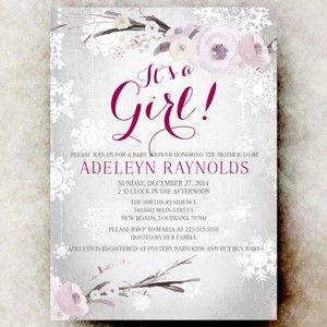 Winter Baby Shower Invitation - girl baby shower invitation, printable baby shower invitation