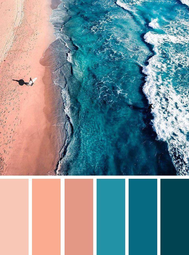 Afbeeldingsresultaat voor color palette teal peach blue #peachideas