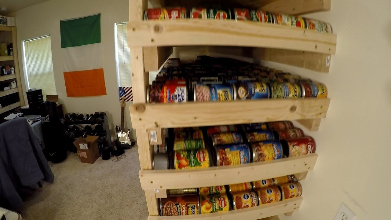 Pantry Storage Shelves with 1000 Can Food Rotation Food