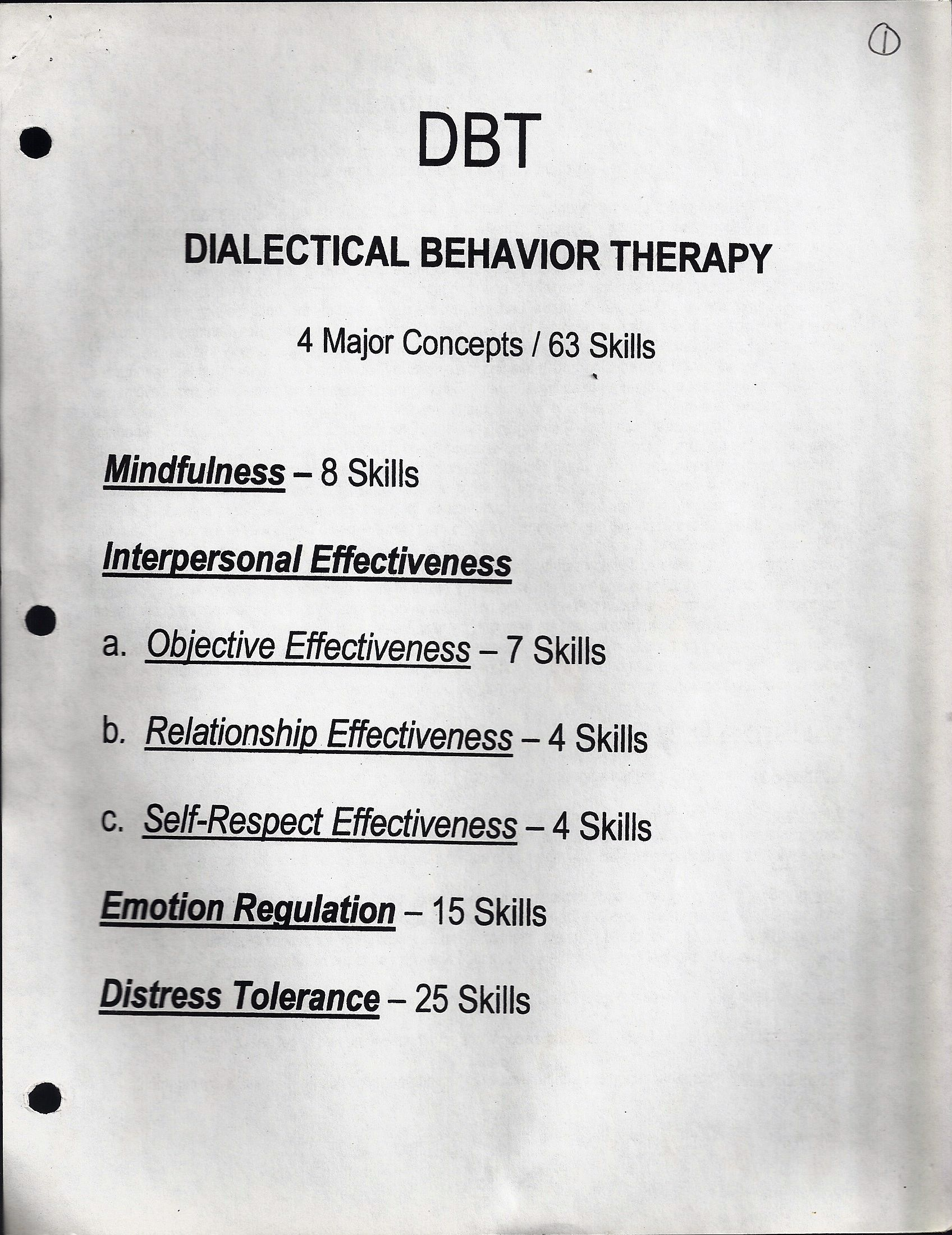 DBT. 4 Major Concepts. 63 Skills. Page 1 of 10