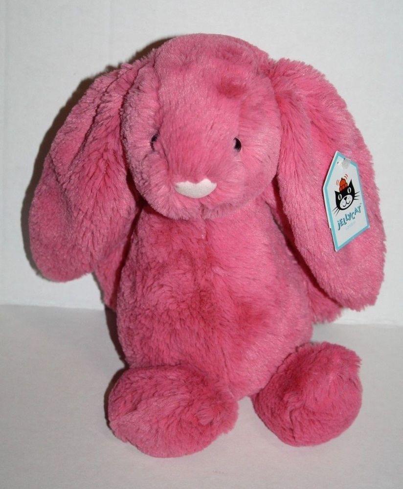 "Jellycat Medium Strawberry BASHFUL BUNNY RABBIT 11"" Plush"