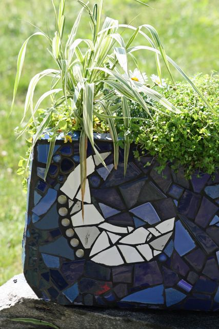 How To Make A Mosaic Planter And Save The World Diy Mosaic Planters Mosaic Garden Mosaic