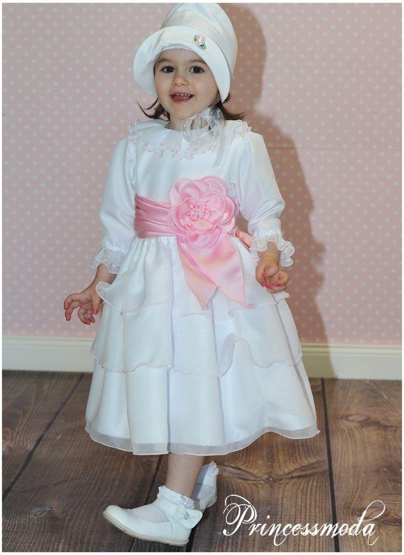 KLEINE DARJA - Entzückendes Taufkleid in Weiß-Rosa ...