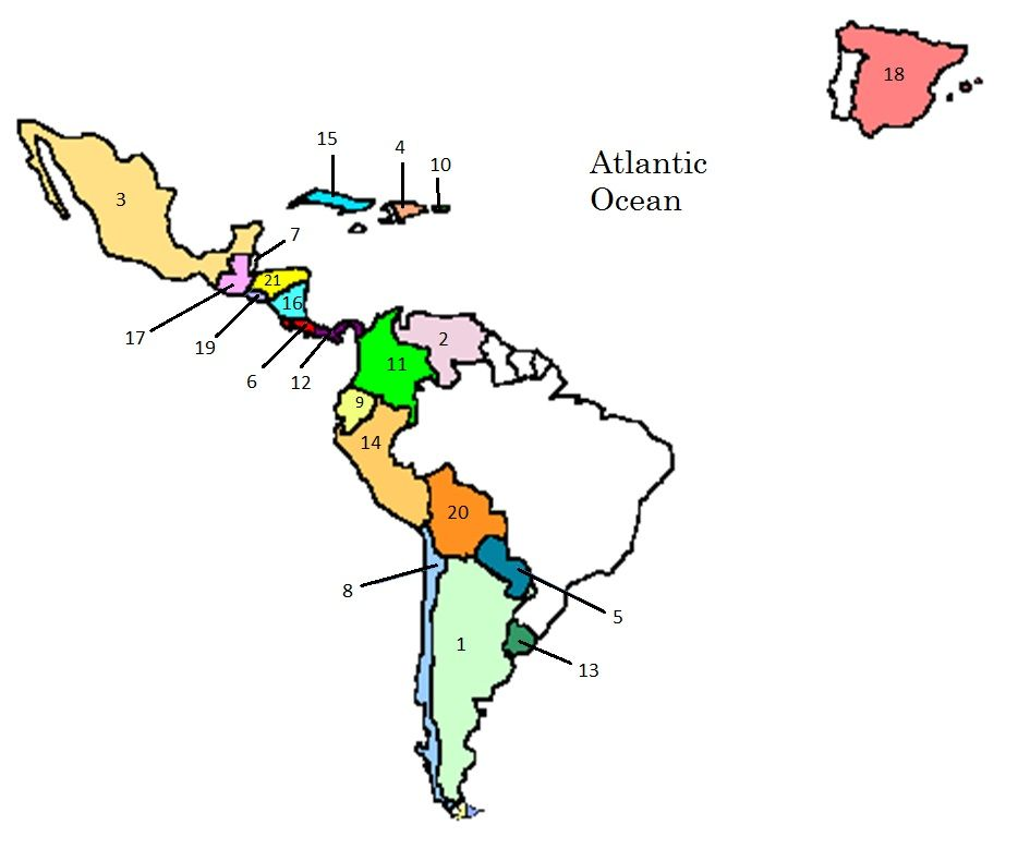 map of spanish speaking countries quiz by hwhitesus school ideas pinterest spanish. Black Bedroom Furniture Sets. Home Design Ideas