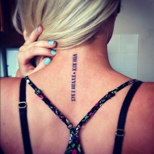Roman Numeral Tattoos Vertical Google Search Neck Tattoo Date Tattoos Tattoos