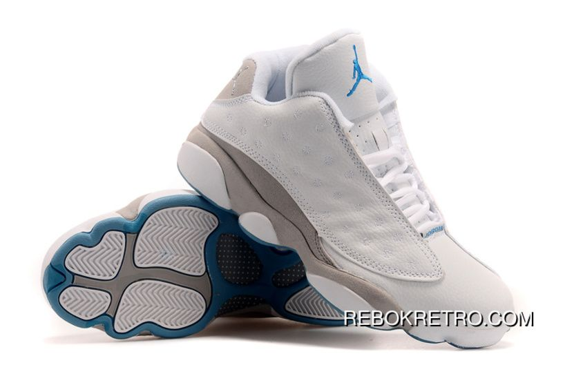 35bd1909fd30d5 Best Air Jordan 13 Low White Neutral Grey-University Blue