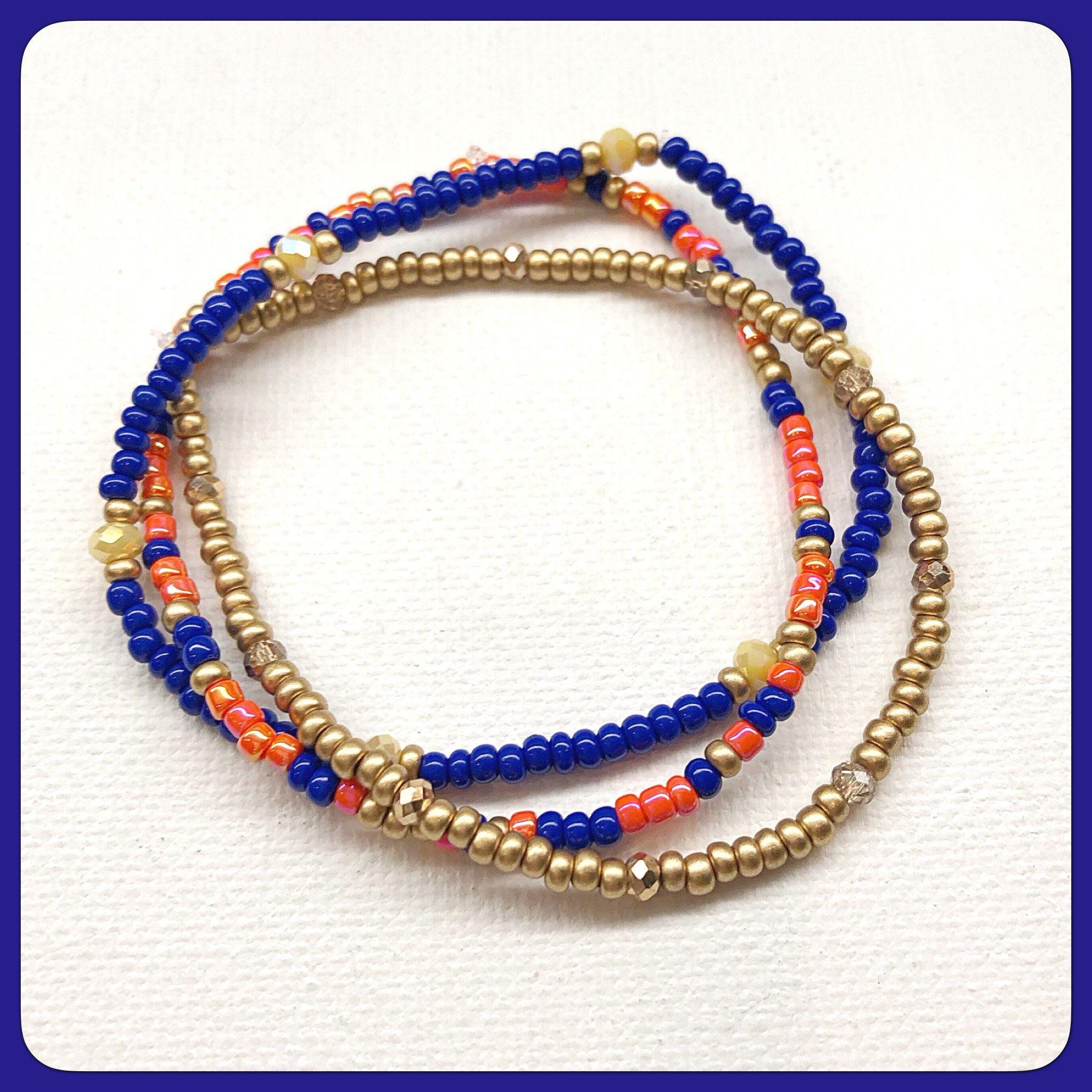 3 summer season individual beaded bracelet set stretch
