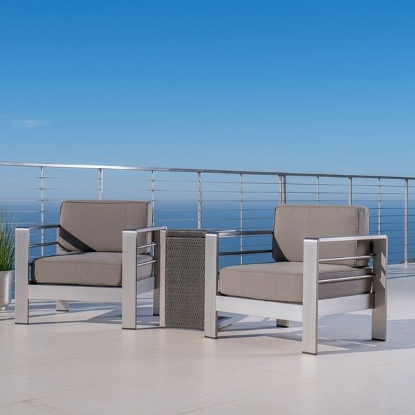 Cape C Outdoor 3 Piece Aluminum Seating Set With Cushions By Christopher Knight Home