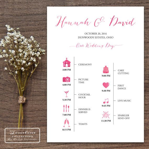 Printable Wedding Timeline Day Of Itinerary Schedule Card Vertical 5 X 7 Portrait Watercolor Wedding Day Timeline Wedding Timeline Wedding Day Itinerary