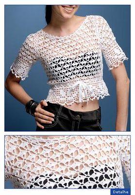 Soniando...: Blusa branca em crochet