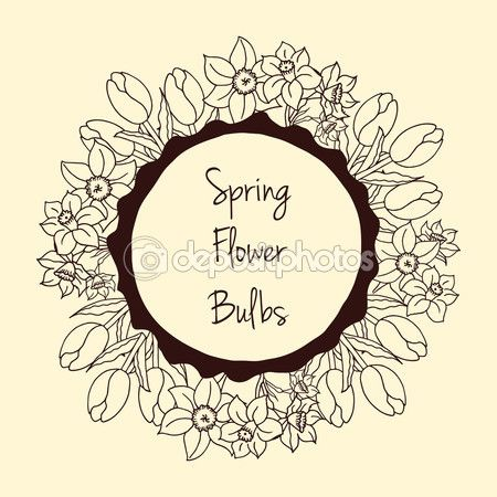 Special spring offer sticker with hand drawn vintage tulips and daffodil. Vector round frame with spring bulb flowers. Hand crafted botanical image.