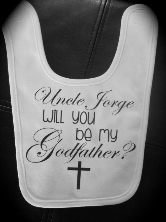 Will you Be my Godmother/Godfather/Godparents? Personalized Bib for baby boy or baby girl gift novel #bibsforbaby