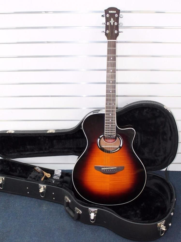 Yamaha Apx 500 Fm Flame Maple Acoustic Electric Thinline Guitar W Hard Case Nice Acoustic Electric Guitar Electric Guitar For Sale