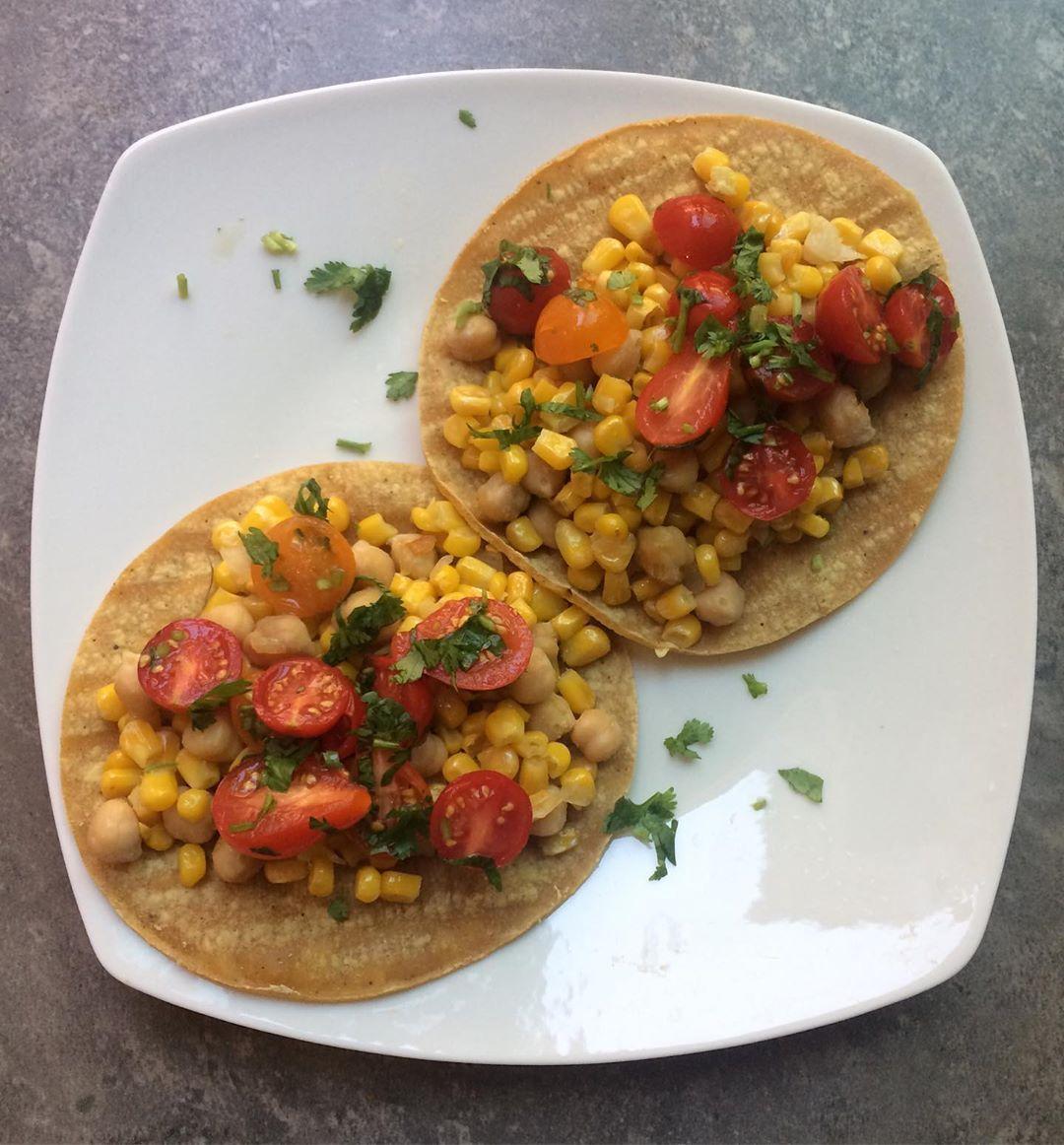 Garbanzo beans, corn, onion, tomato tostadas