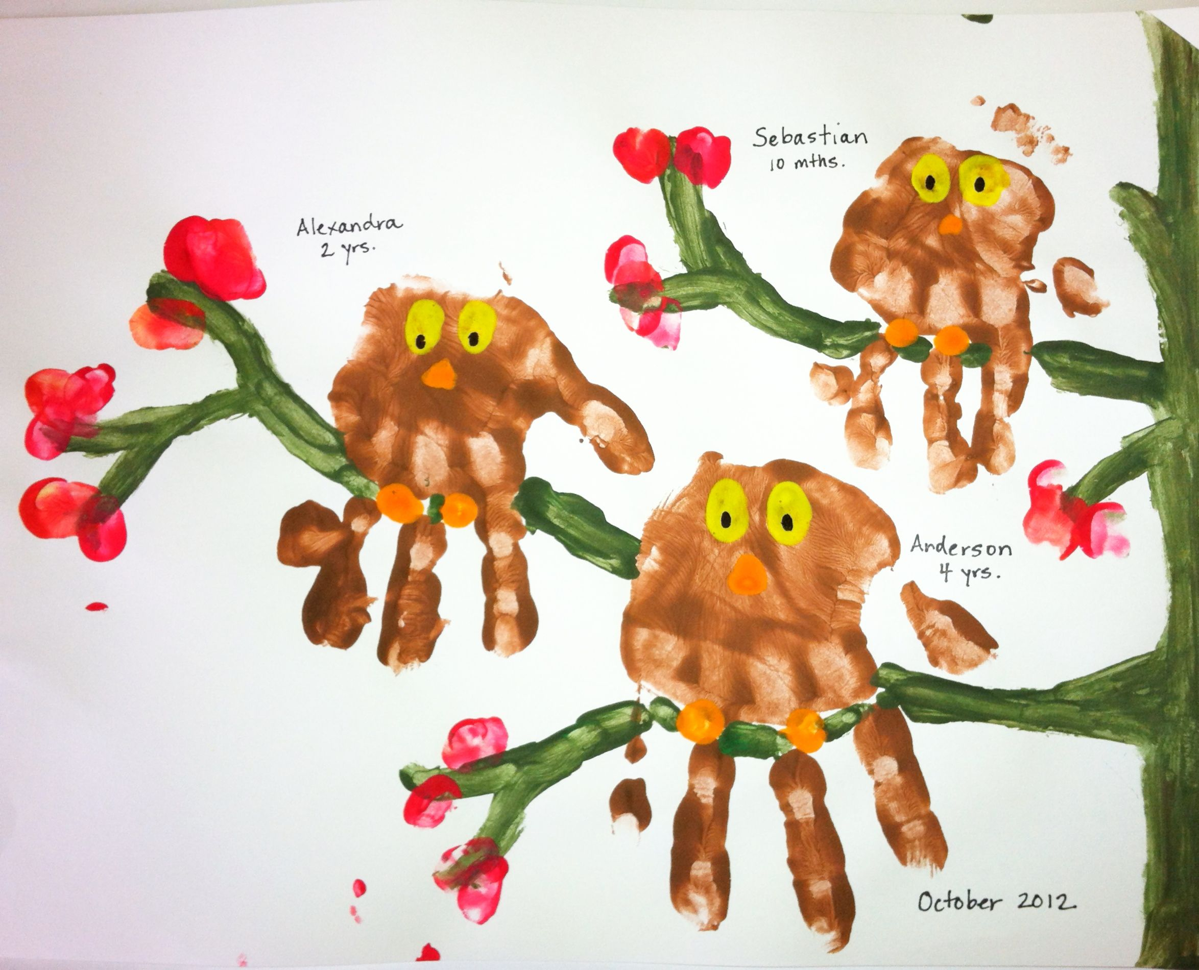 Harvest Craft Ideas For Kids Part - 27: Kids Handprints Made Into Owls. Thumb Prints Can Make Leaves. Idea For  Brownies Church Harvest Display
