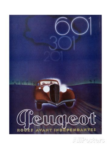 Advertisement for the Peugeot 601, from 'Femina' Magazine, August 1934 Giclee Print at AllPosters.com