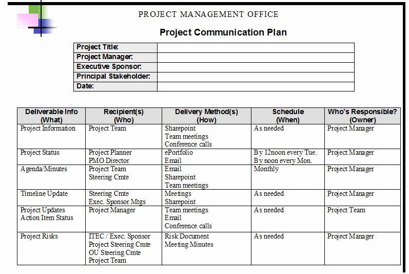 Sample Communication Plan Template Best Of Project Management Munication Plan Template Communication Plan Template Communications Plan Marketing Plan Template