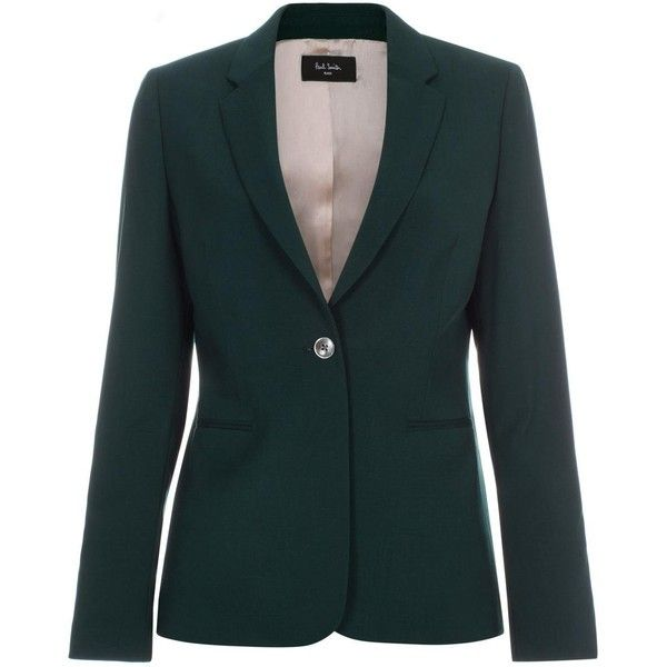 4bbba318ee8 Paul Smith Women s Dark Green Wool Single-Button Blazer (€510) ❤ liked on  Polyvore featuring outerwear
