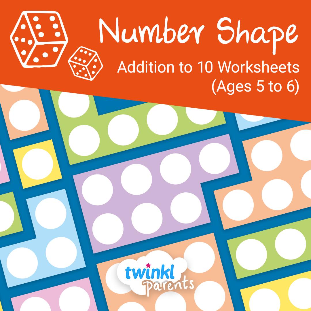 Number Shape Addition Worksheets Age 5 6 In
