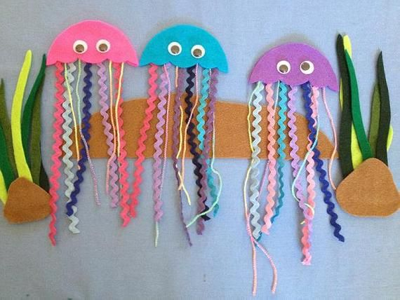 Three Jelly Fish Felt Board Pattern  PDF Download  Stories Rhyme Song 5 Counting