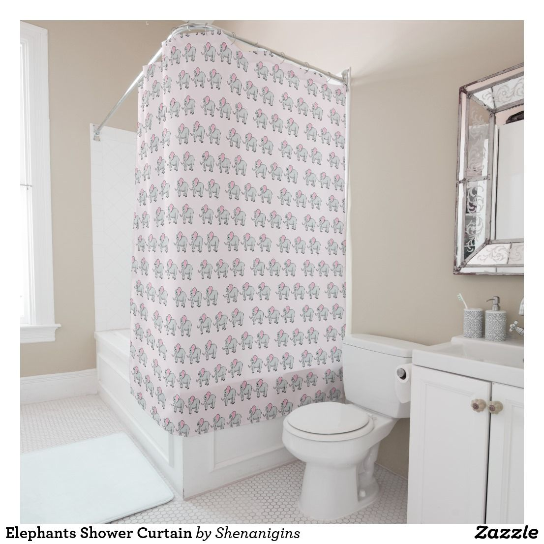 Elephants Shower Curtain Cute With Pink Ears Make Up This Adorable Background Color Can Be Changed To Match Any Bathroom Dcor