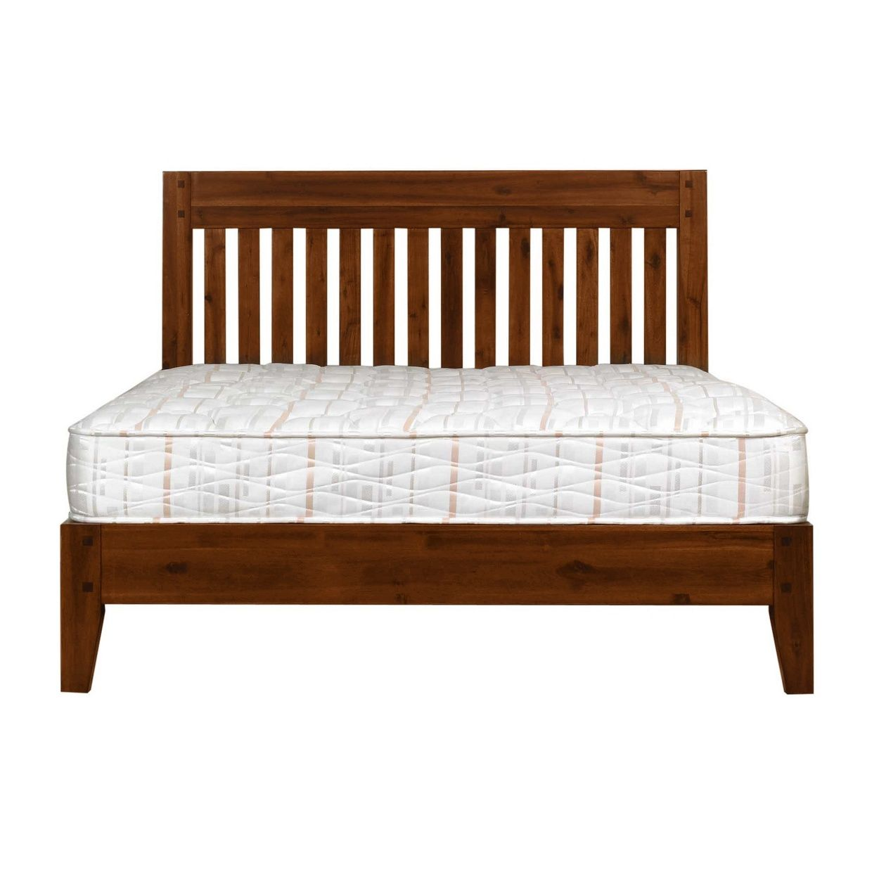 Boasting a classic slatted design, this rich dark acacia 'Elba' wooden bed is a sophisticated addition to any bedroom, and will perfectly complement lighter coloured bedding.