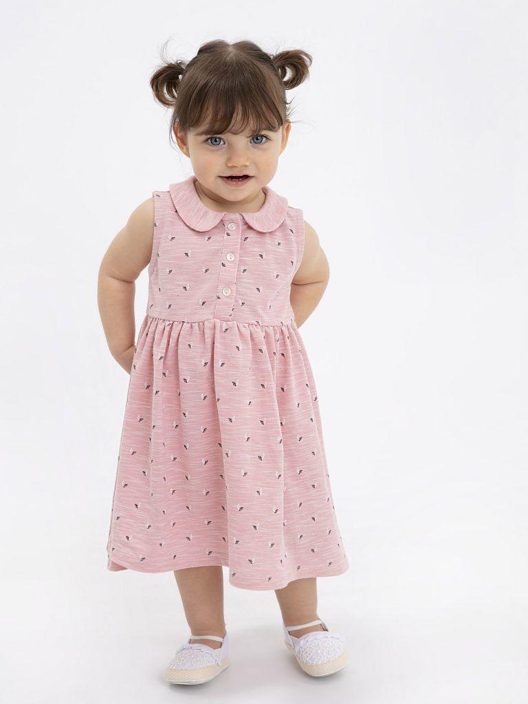 : 2020 rosa geknöpftes Kleid #babypullover #babyschuh #kindermode #schuh #babym…