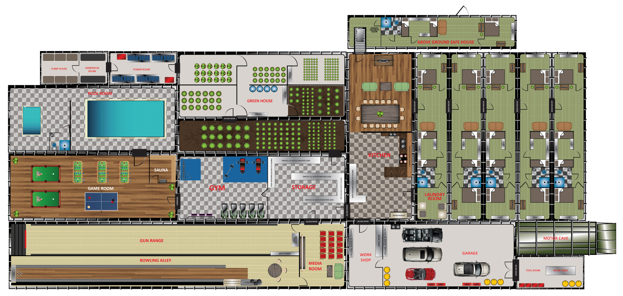 bunker floor plans and pricing for models of various sizes