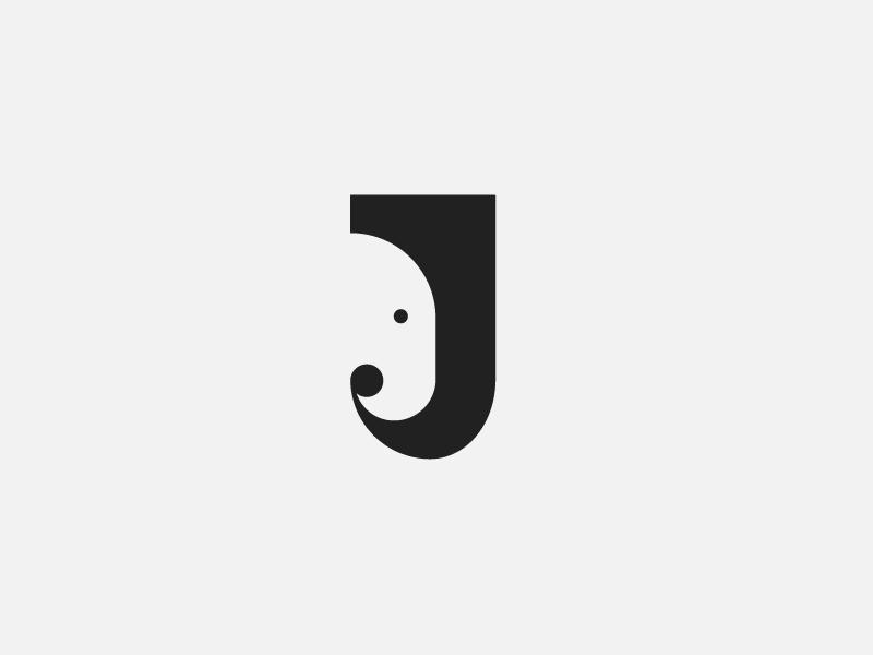 J Is For Elephant Elephant Logo Design Typo Logo Design Logo Design Creative