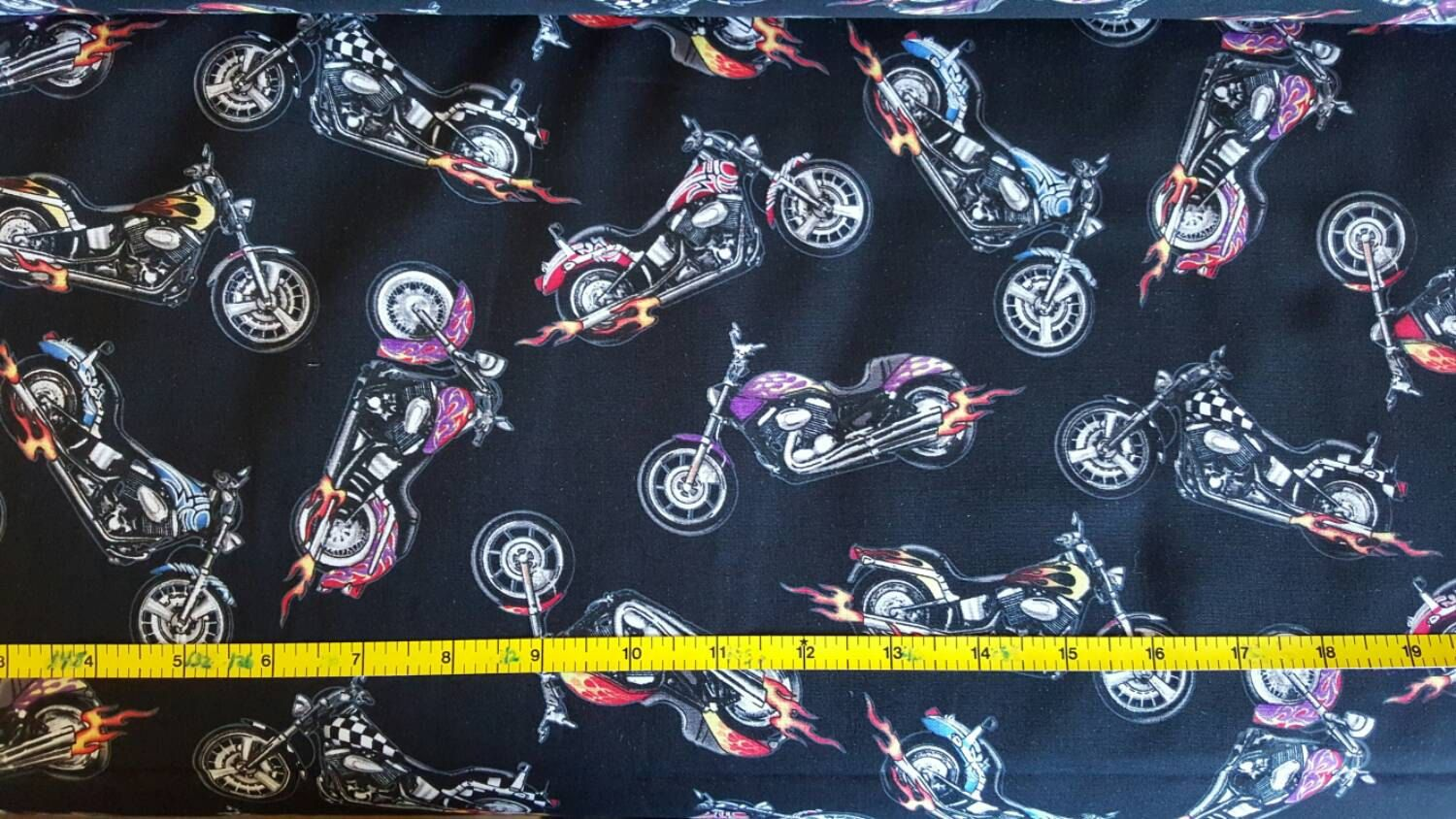 100 Cotton Quilting Fabric By The 1 2 Yard Motorcycle Biker Hd Hog Rich Black Background And Bikes Elizabeth Studio Cotton Quilting Fabric Purple Flame Fabric