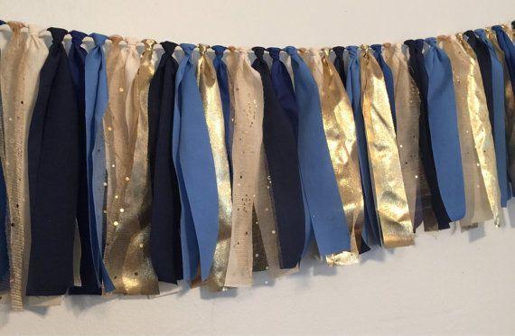 Marine blauw en goud stof lap garland banner door PenelopeandLala
